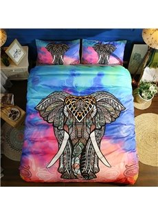 Multi Color Bohemia Style Elephant Polyester 3-Piece 3D Bedding Sets/ Duvet Covers
