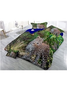 Leopard and Green Forest Printed 4-Piece 3D Bedding Sets/Duvet Covers