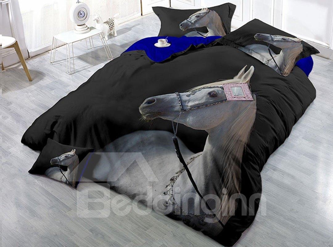 White Horse Black Printing Cotton 4-Piece 3D Bedding Sets/Duvet Covers