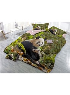 Kind Panda and Green Leaves Printed 4-Piece 3D Bedding Sets/Duvet Covers