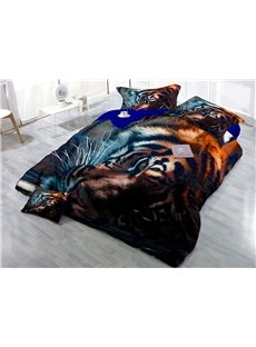 Tiger Head Printed 4-Piece Cotton 3D Bedding Sets/Duvet Covers