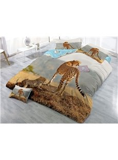 Leopard Family Printed 4-Piece 3D Cotton Bedding Sets/Duvet Covers