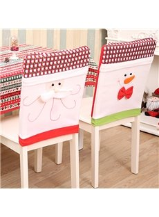 Classic Grid Snowman and Santa Claus Chair Cover