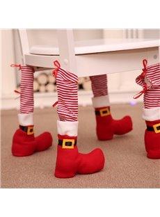 Striped Chair Leg Socks Christmas Decoration Set of 4