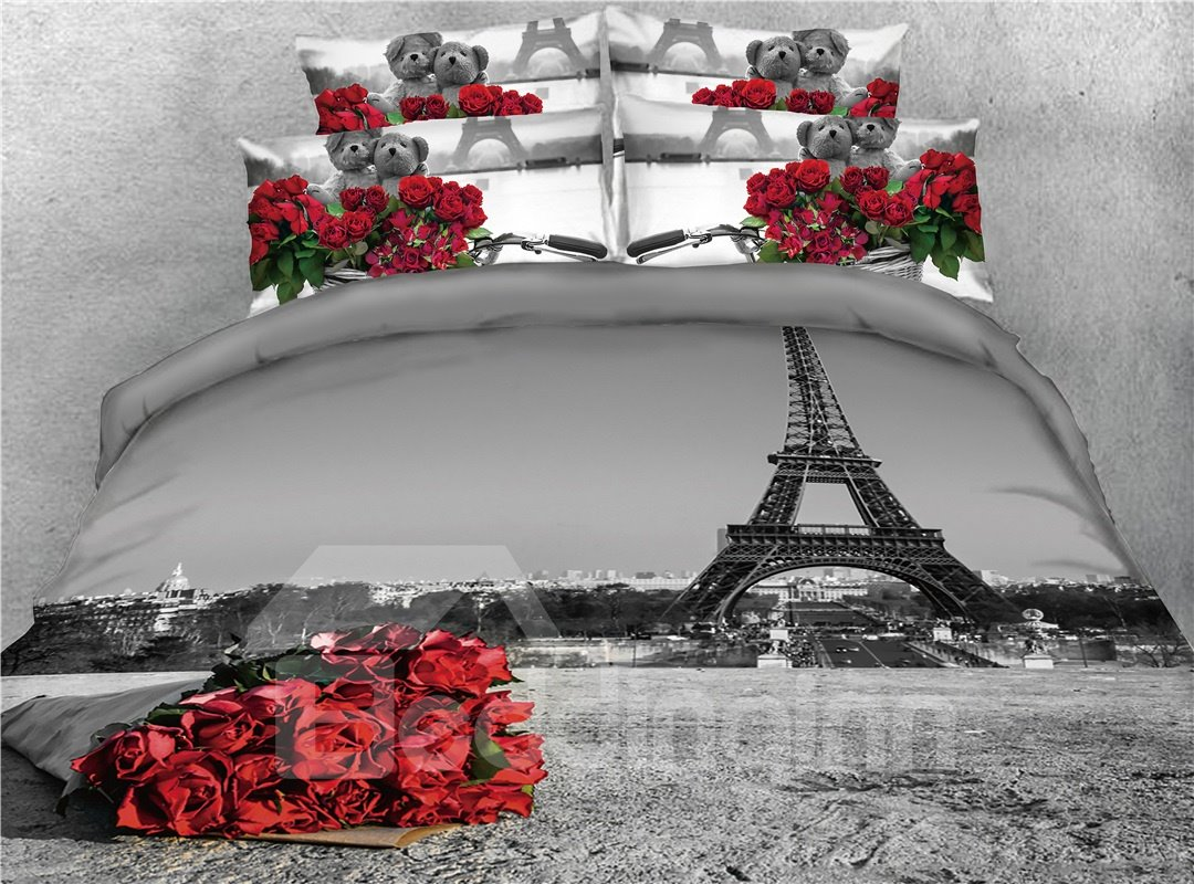 Red Rose and Eiffel Tower Grey Printed 4-Piece 3D Bedding Sets/Duvet Covers