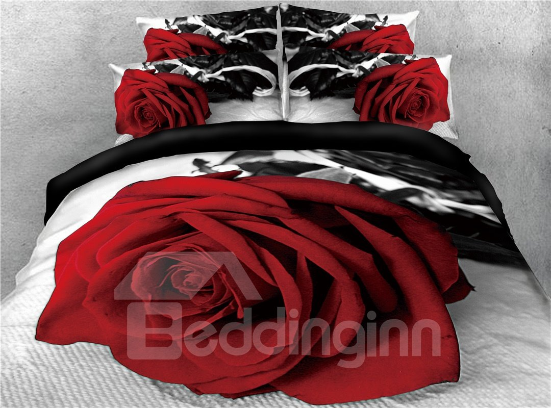 Fresh Red Rose Printed Cotton 4-Piece 3D Bedding Sets/Duvet Covers