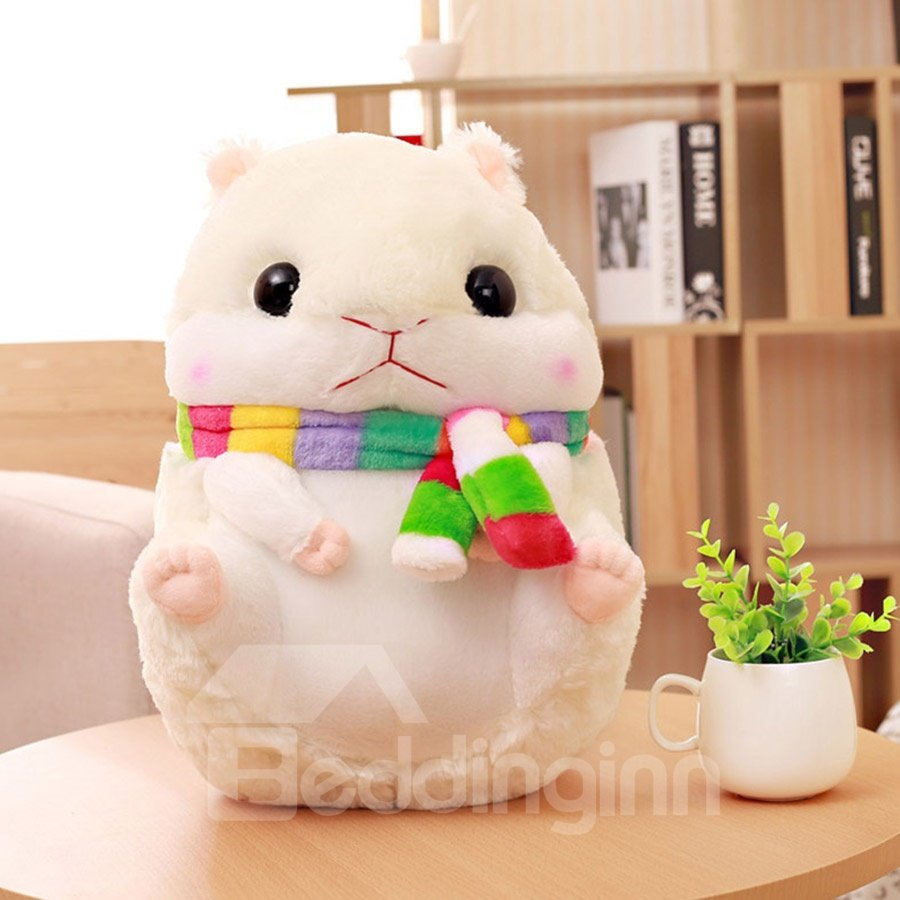 White Cute Creative Hamster Soft and Breathable Plush Baby Toy And Blanket