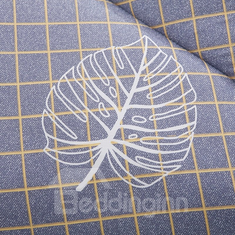 Tropical Leaves Printed Quilting Polyester Grey Winter Quilt