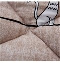 White Little Cat Printed Quilting Polyester Coffee Winter Quilt