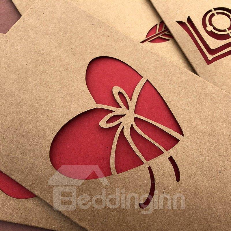 Vintage Kraft Paper Laser Cutout Love Christmas Valentine Card Greeting Card