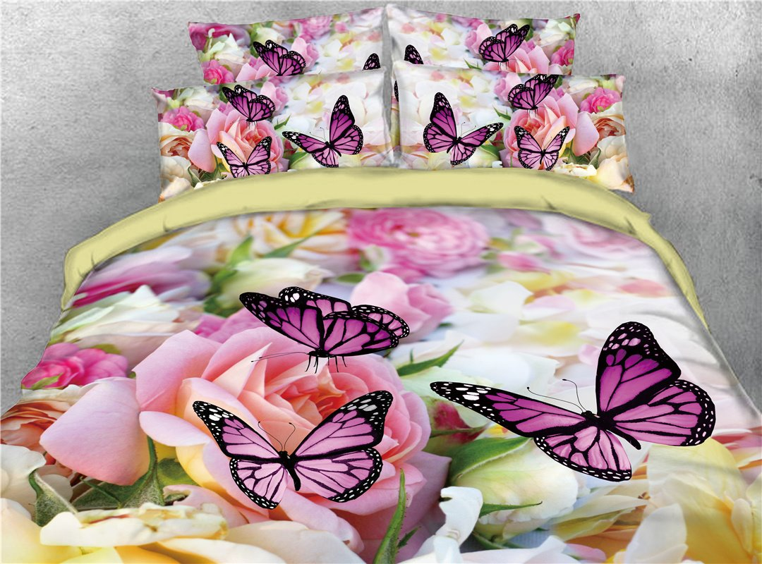 Colorful Flower and Butterflies Printed 4-Piece 3D Bedding Sets/Duvet Covers