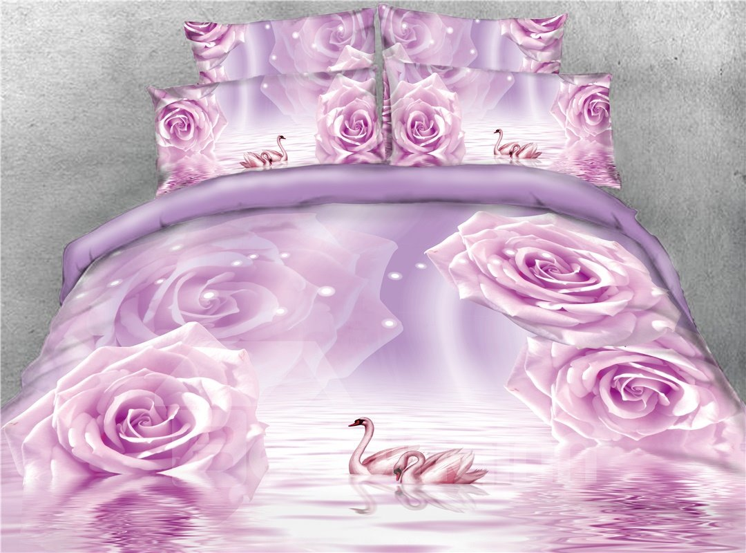 Purple Roses and Couple Swans Printed 4-Piece 3D Bedding Sets/Duvet Covers