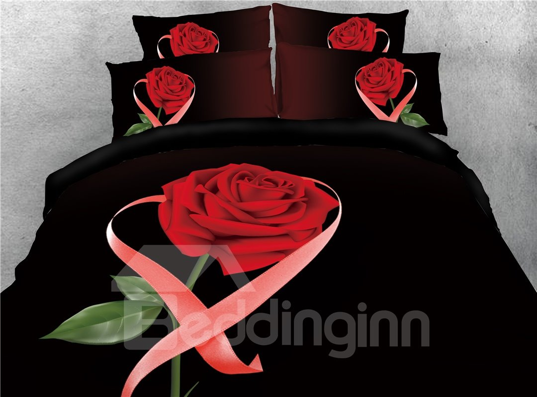Red Rose and Ribbon Printed 4-Piece 3D Bedding Sets/Duvet Covers