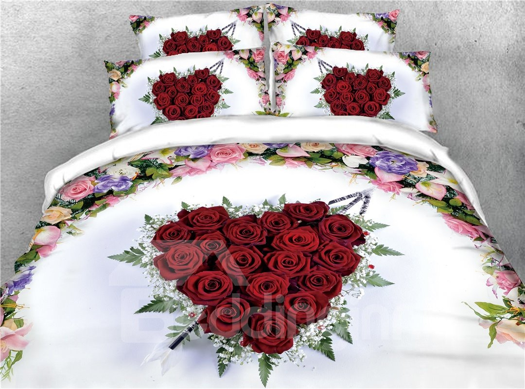 Heart-shaped Red Roses and Floral Printed 4-Piece 3D Bedding Sets/Duvet Covers