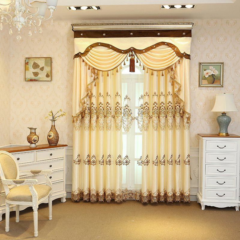Embroidery Beige Drapes Grommet Tops 2 Panels for Living Room