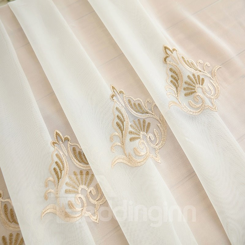Royal Design Embroidery Beige Drapes Grommet 2 Panels Sheer