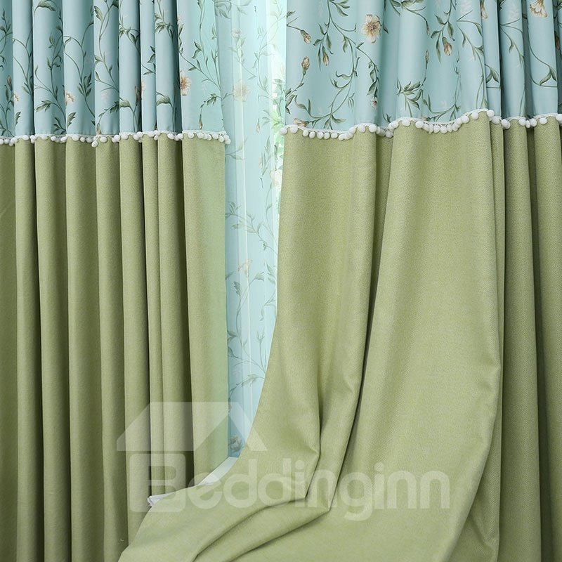 Pastoral Decoration Drapes 2 Panels Curtain Four Colors for Chioce