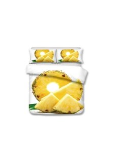 Pineapple Slice Printed 3-Piece Yellow 3D Bedding Sets/Duvet Covers