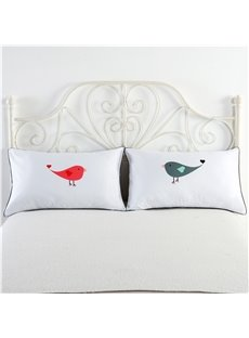 Red Bird and Grey Bird Printed Valentine's Gifts Pillowcases
