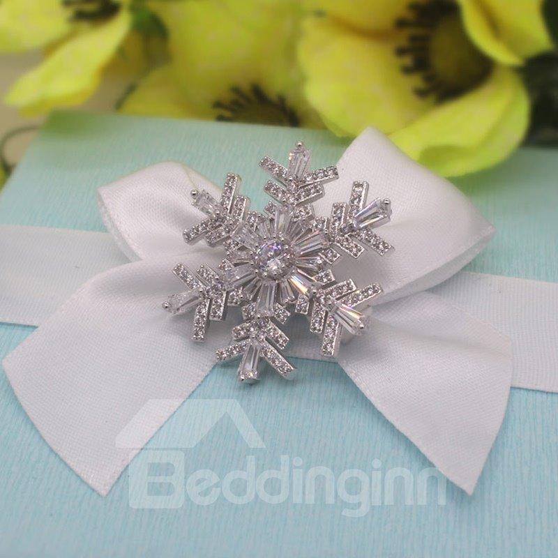Christmas Gift Snowflake with Zircon Brooch