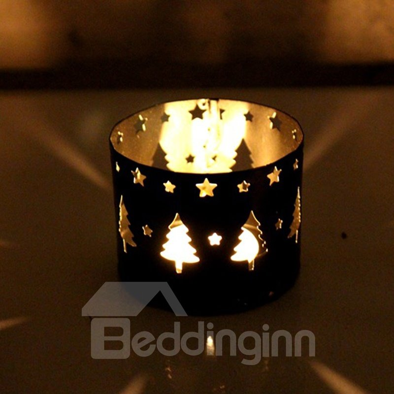 Christmas Straight Hollow Wrought Iron Decoration Candle Holder