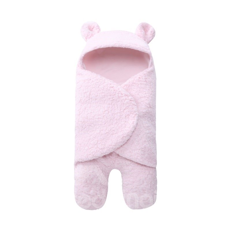 Simple Style Pure Color Coral Fleece Baby Sleeping Bag