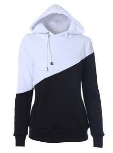 Hooded Loose Model Patchwork Casual Style Hoodie