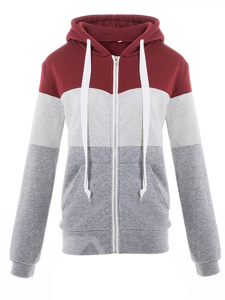 Casual Style Patchwork Hooded Cardigan Straight Model Hoodie