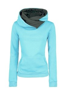 Hooded Cotton Plain Casual Style Patchwork Slim Model Hoodie