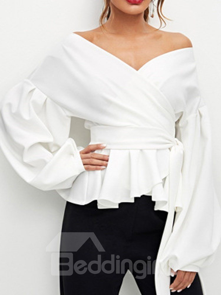 Patchwork Pullover Slash Neck Sexy Style Loose Model Blouse