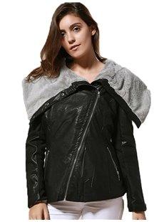 PU Zipper Loose Model Asymmetric Lapel Plain Jacket