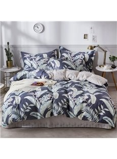 Tropical Leaves Printed Cotton 4-Piece Bedding Sets/Duvet Covers
