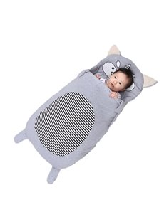 Cute Cartoon Wolf Pattern Anti-Kicking Velvet Baby Sleeping Bag