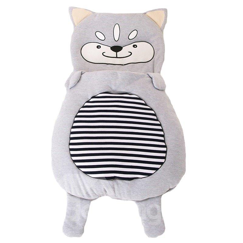 Cute Cartoon Wolf Pattern Anti-Kicking Velvet Baby Sleeping Bag