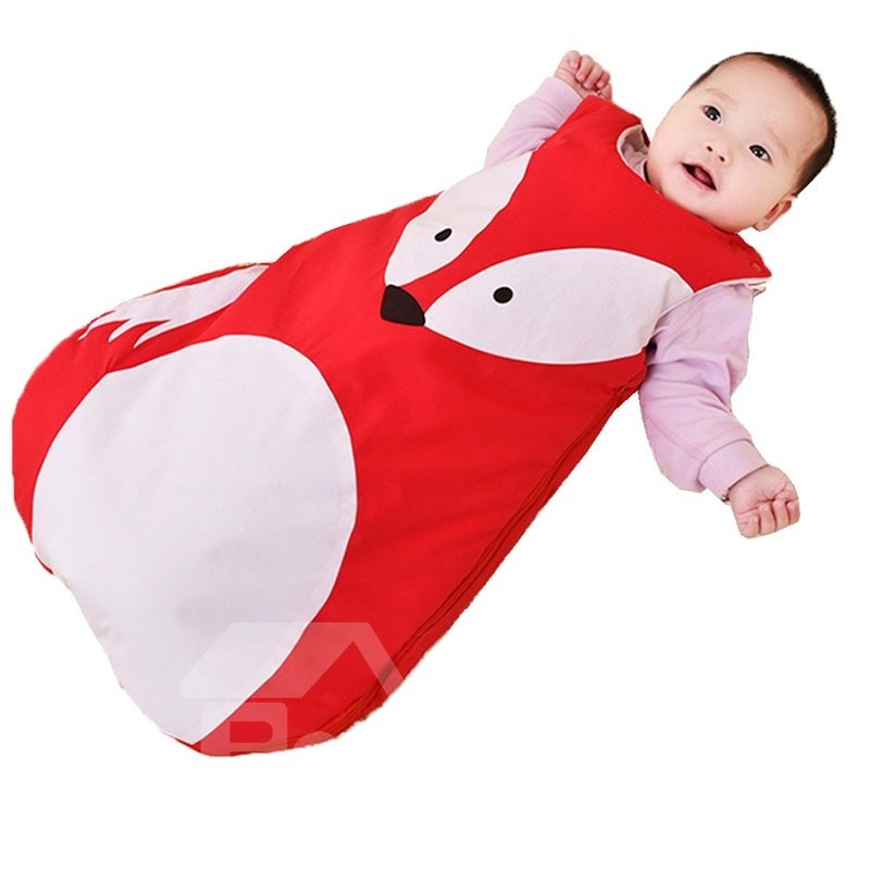 Cute Panda/Fox Shape Anti-Kicking Velvet Baby Sleeping Bag
