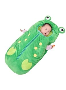 Cute Frog Shape Anti-Kicking Velvet Green Baby Sleeping Bag