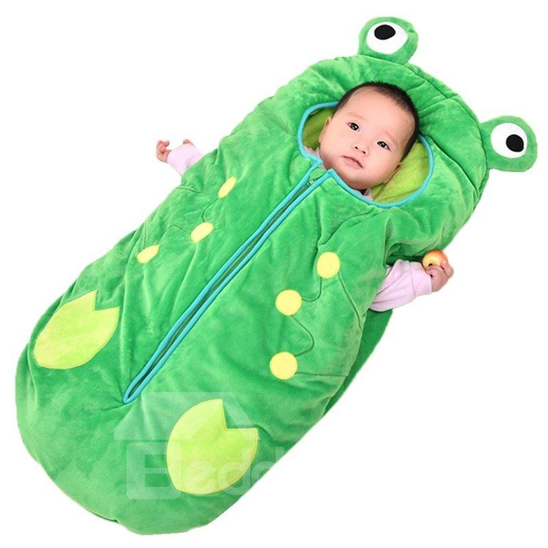 Cute Frog Shape Anti-Kicking Velvet Green Baby Sleeping Bag