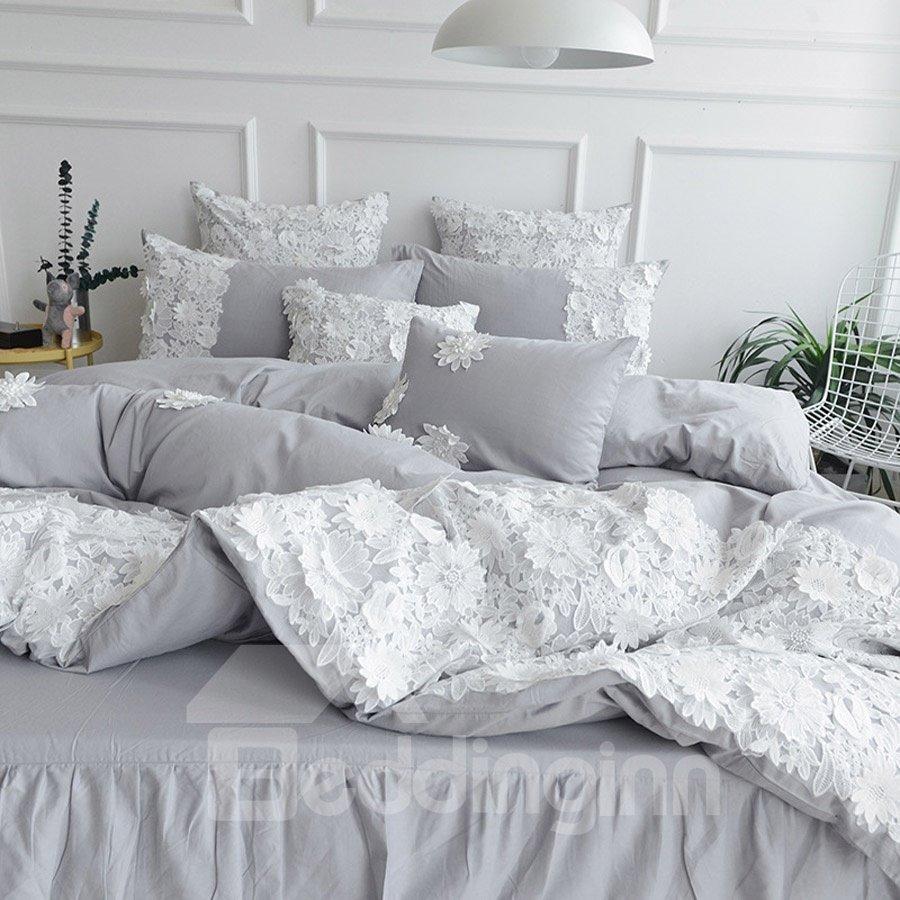 Pure Color White Princess Style Cotton Lace Bed Skirt Bedding Sets/Duvet Covers