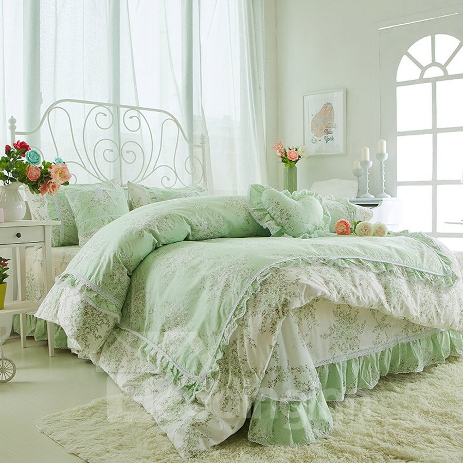Lace Ruffles Pattern Green Cotton 4-Piece Bed Skirt Bedding Sets/Duvet Cover