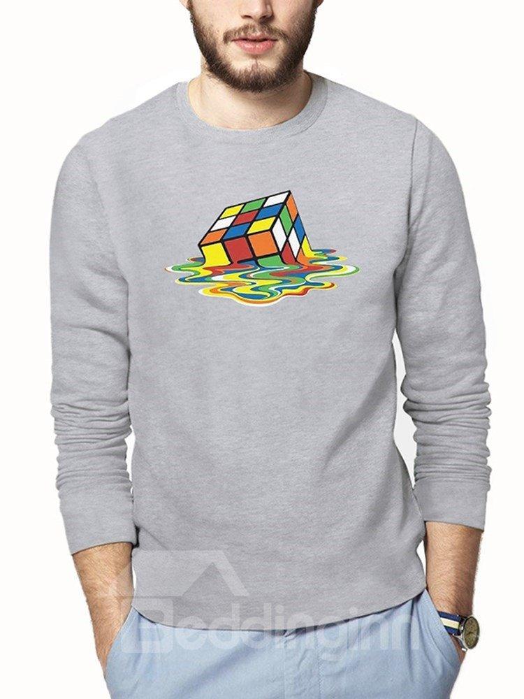 Creative Cube Loose Model Long Sleeve 3D T-Shirt