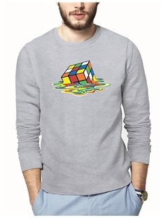 Creative Cube Loose Model Long Sleeve 3D T-Shirt