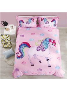 Cotton Unique Design Unicorn Princess Style 4-Pieces Girl Bedding Sets/Duvet Cover