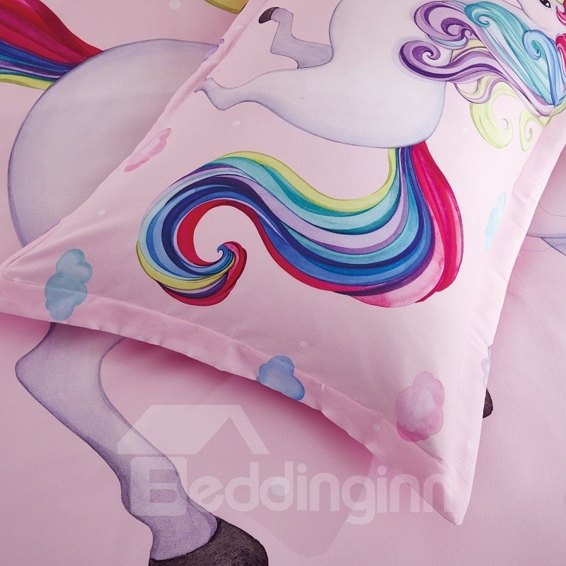 Cotton Unique Design Unicorn Princess Style 4-Pieces Girl Bedding Sets/Duvet Cover