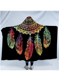 Multi Color Dream Catcher 3D Printing Black Polyester Hooded Blanket
