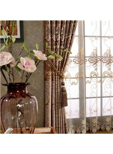 Royal Design Classic Embroidery Drapes Grommet 2 Panels for Living Room