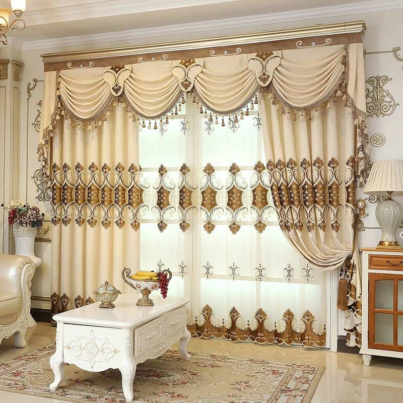 Thick Embroidery European Drapes Grommet 2 Panels Living Room Pic
