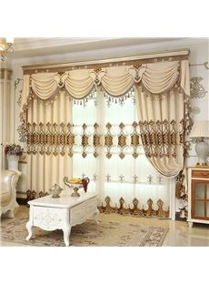 Thick Embroidery European Drapes Grommet 2 Panels for Living Room
