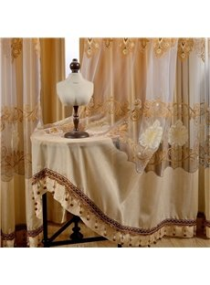 Light Orange Grommet Drapes Embroidery Jacquard Curtain 2 Panels