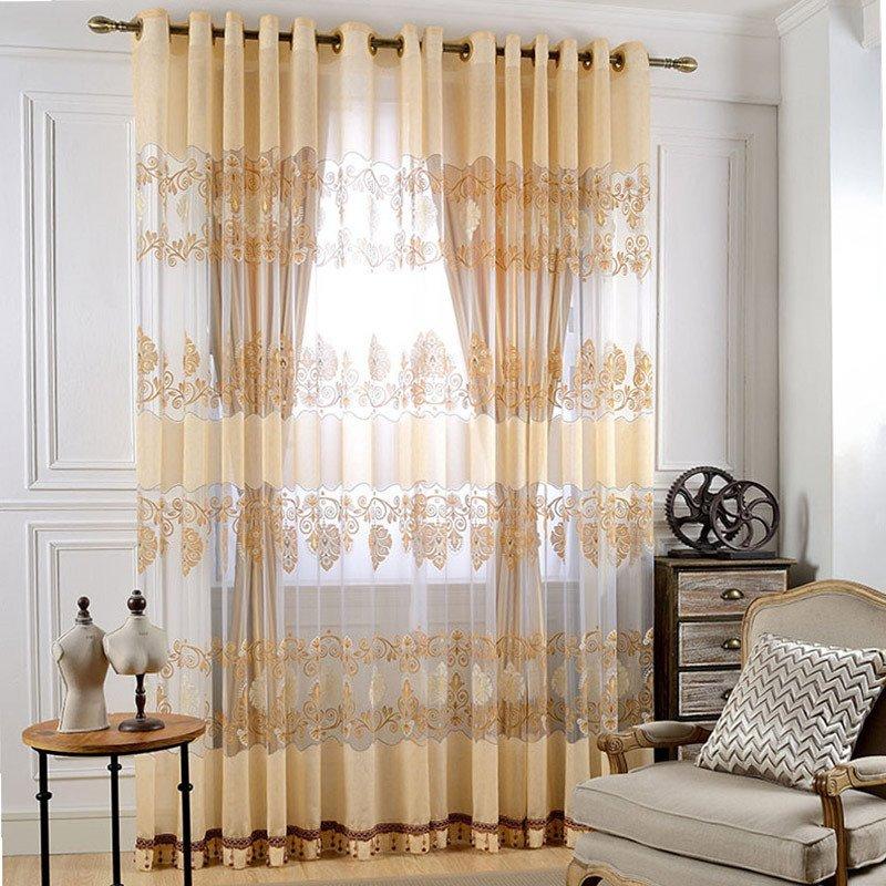 Light Orange Grommet Drapes Embroidery Jacquard Curtain 2 Panels