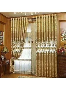 Royal Design Shining Golden Embroidery Drapes Grommet Top Curtain